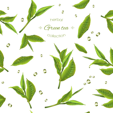 green tea seamless pattern with transparent teapot, tea leaves and drops. Background design for green tea, drink menu, homeopathy and health care products. Best for wrapping paper