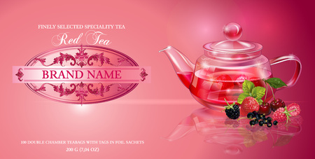 homeopathy: fruit tea with transparent teapot and berries. Design for red and fruit tea, drink menu, homeopathy, aromatherapy and health care products. With place for text.