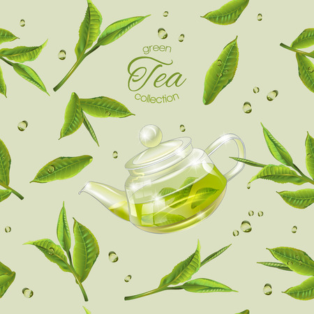 green tea seamless pattern with transparent teapot, tea leaves and drops. Background design for green tea, drink menu, homeopathy and health care products. Best for wrapping paper Reklamní fotografie - 68049295