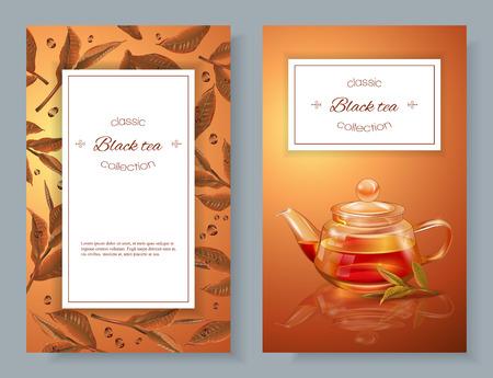 黒茶のバナー  イラスト・ベクター素材