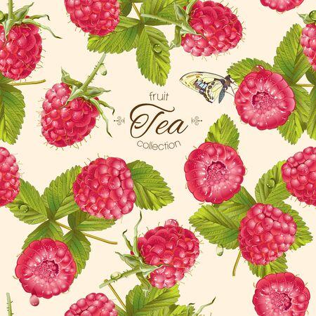 Vektor-Himbeer-Tee-Muster