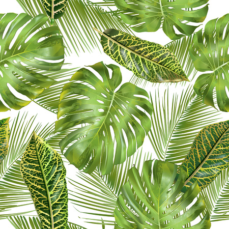 Tropical leaves pattern Vectores