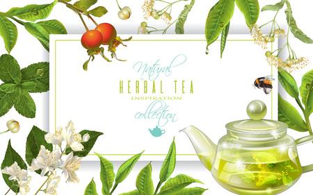 Herbal tea frame Stock Illustratie
