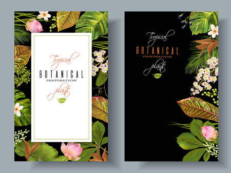 wedding reception decoration: Tropical plants banners