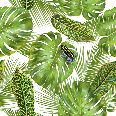 Tropical leaves pattern Stock Illustratie