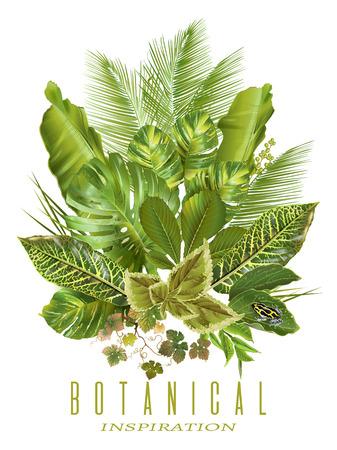 wedding reception decoration: Tropical plants banner