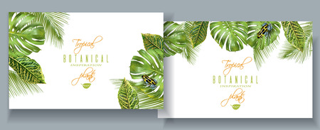 Tropical monstera banners Vector Illustration