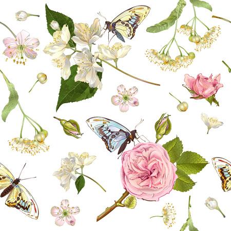 banderas flor de mariposa Ilustración de vector