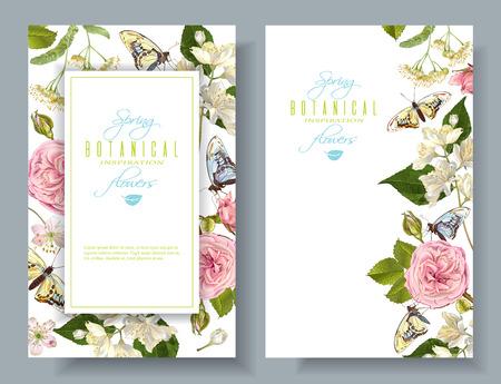 花蝶のバナー  イラスト・ベクター素材