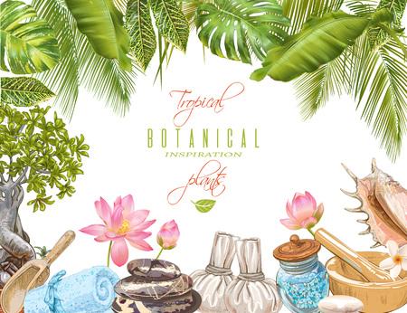 Cadre tropicale tropical Banque d'images - 76390706