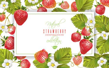 Aardbeien horizontale banner Stock Illustratie