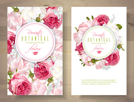 Romantic flowers vertical banners