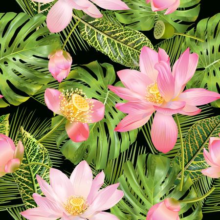 Tropical lotos pattern  イラスト・ベクター素材