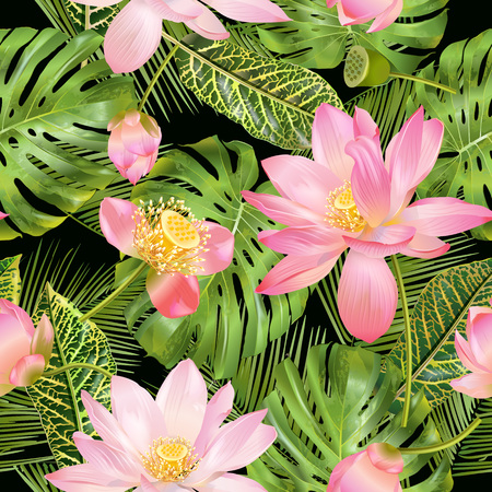 Tropical lotos pattern 일러스트