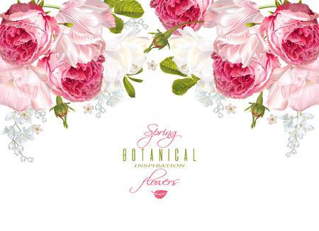 Romantic flowers horizontal banner