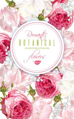 Banner verticale di fiori romantici