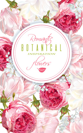 Bannière verticale de fleurs romantiques
