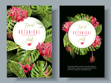 Tropical flower vertical banners