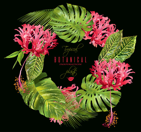 Tropical flower wreath Illustration