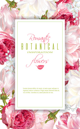Romantic flowers vertical frame Vectores