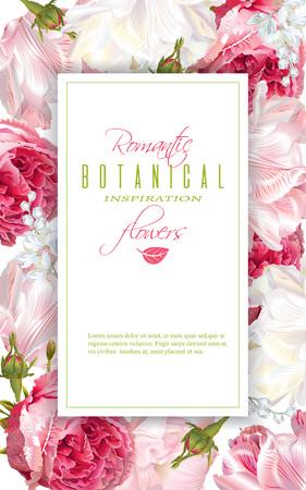Romantic flowers vertical frame Illustration