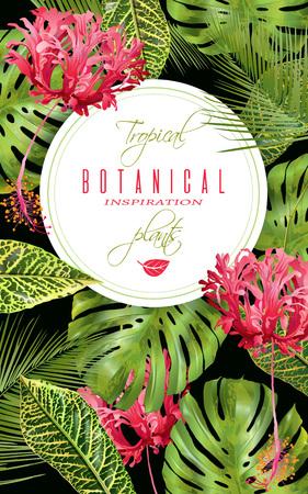 wedding reception decoration: Tropical flower vertical banner