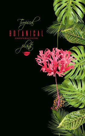 熱帯の花垂直バナー  イラスト・ベクター素材