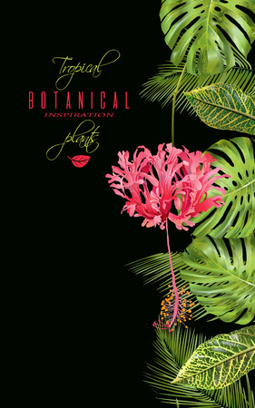 Tropical flower vertical banner Stock Vector - 81365754