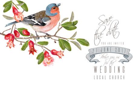 Finch granaatappel branchekaart Vector Illustratie