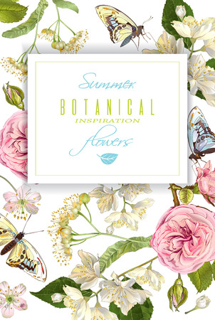 Flower butterfly banner Illustration