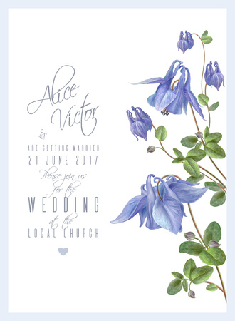 Blue flower invitation Vettoriali