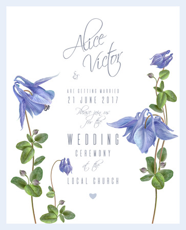 Blue flower invitation card