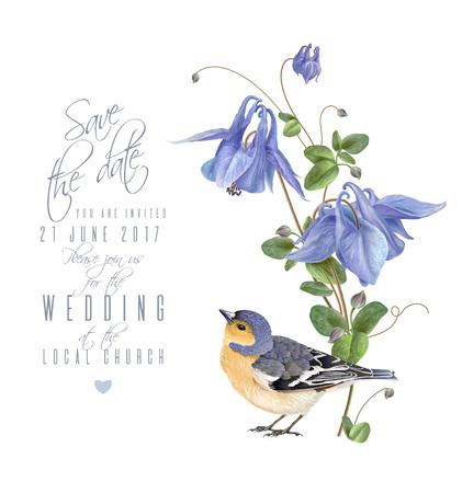 Blue flower bird card