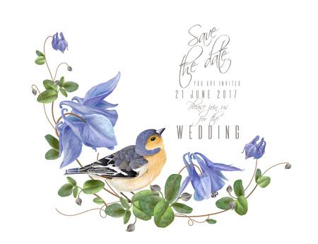 Blue flower bird composition