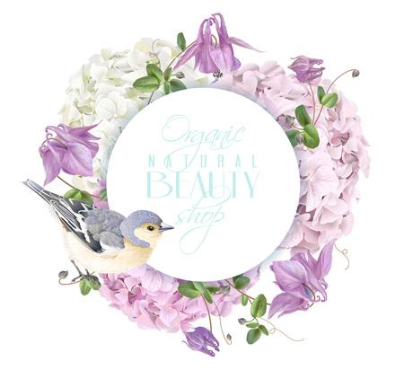 Hydrangea bird round logo Illustration
