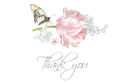 Tulip butterfly thank you card
