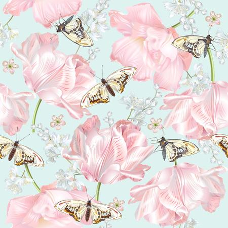 チューリップの蝶のパターン  イラスト・ベクター素材