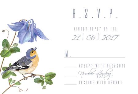 Blue flower bird R.S.V.P. card Banco de Imagens - 84742990