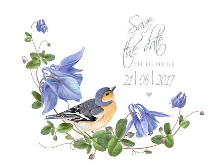 푸른 꽃의 새가 날짜를 저장합니다. 일러스트