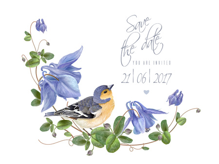 Blue flower bird save the date Illustration