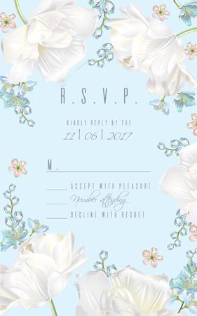 Tulip RSVP card blue