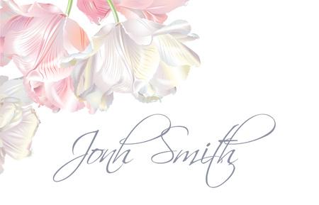 Tulip name card pink Vector illustration. Ilustracja
