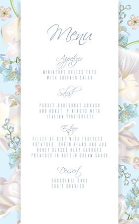 Tulip blue menu vector illustration
