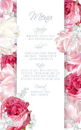 花とメニュー カード デザイン。