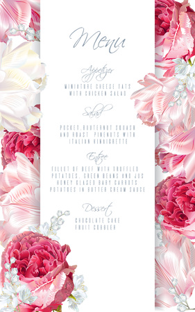 Menu card design with flowers.