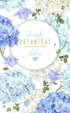 Hydrangea banner blue Illustration