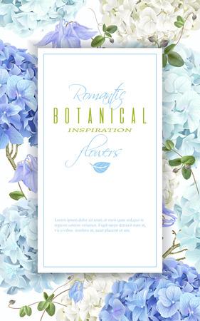 Hydrangea frame blue Illustration