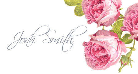 A Vector wedding name card with garden rose flowers on white background. Stock fotó - 87575669