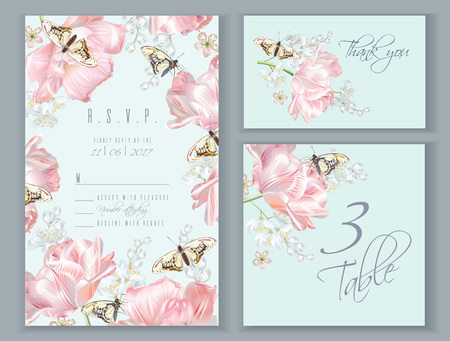 Tulip butterfly card set
