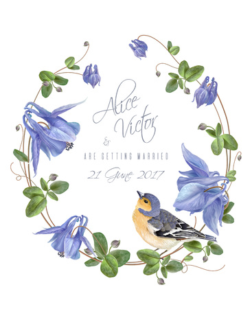 Blue flower bird wreath